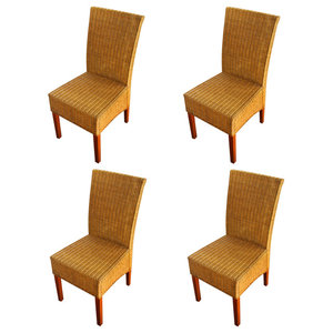 vidaXL Rattan Dining Chairs, Brown, Set of 4