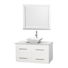 "Centra 42"" Matte White Vanity, Carrera Marble Top, 36"" Mirror, White Porcelain"