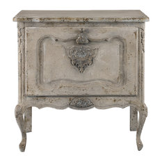 Vintage Style Romantic Drop Front Accent Chest, Antique Ivory White Cabinet