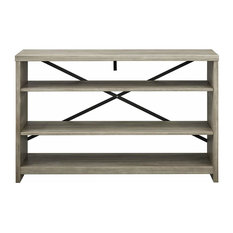 Rustic Console Table Distressed Natural Wood 3 Open Shelves For Storage Antiq