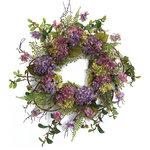Melrose International - Hydrangea Wreath, Green and Purple - Classic hydrangea wreath in beautiful shades of purple.