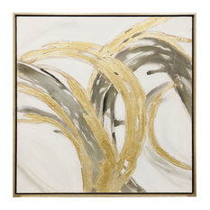 """Contemporary Motion, 40""""x40"""" Hand Embellished With Gold Canvas Print, Framed"""