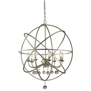 6 Light Indoor Chandelier Finish Barnwood And Oil Rubbed