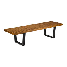Poly and Bark Slat 5' Bench, Walnut