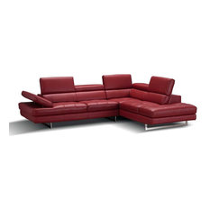 A761 Italian Leather Sectional Sofa In Red Right Hand Facing Chaise