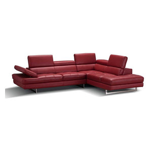 A761 Italian Leather Sectional Sofa in Red, Right Hand Facing Chaise