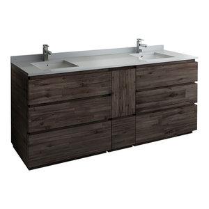 "Formosa Floor Standing Double Sink Modern Bathroom Cabinet With Top & Sinks, 72"""