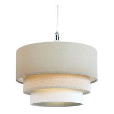 3-Tier Linen Pendant Light Shade, Natural