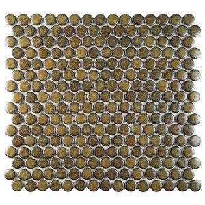 "Penny Porcelain Mosaic Floor/Wall Tile, Brownstone, Sample Card, 3""x4"""