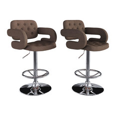 Adjustable Tufted Dark Brown Fabric Barstool With Armrests Set Of 2