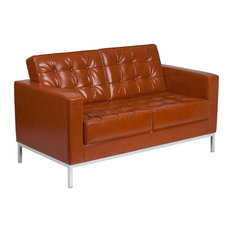 Offex LeatherSoft Upholstered Loveseat With Stainless Steel Frame - Cognac