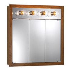 """Granville 30""""x30"""" Surface Mount Lighted Honey Oak Medicine Cabinet"""