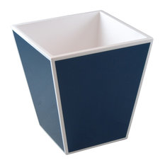 Navy Blue, White Lacquer Waste Basket