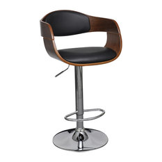 vidaXL Adjustable Swivel Bar Stool Leather With Backrest