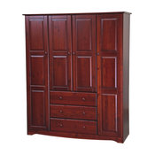 "Family 60"" Solid Wood Wardrobe Armoire, Mahogany"