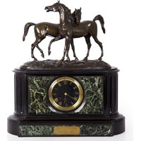 Consigned Marble & Black Slate Mantel Clock w/ Equestrian Sculpture Group