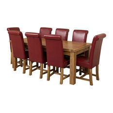 Richmond Oak Extending Table, 8 Washington Chairs, Red Leather