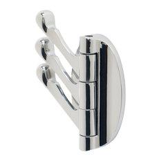 Triple Folding Garment Hook, Polished Chrome