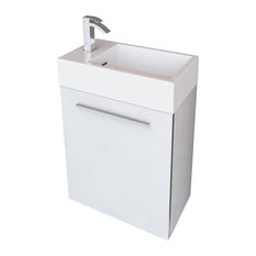Boutique Space Saver Wall-Mounted Floating Vanity, Gloss White