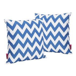 GDF Studio Ernest Indoor Zig Zag Square Throw Pillows, Blue, Set of 2