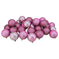 """32ct Orchid Pink Shatterproof 4-Finish Christmas Ball Ornaments 3.25"""", 80mm"""