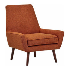 Accent Chair, Hardwood Legs With Padded Seat and Low Arms, Midcentury Style, Bur