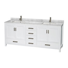 "Double Vanity, White, 80"", White Carrera Marble, Sinks: Undermount Square"