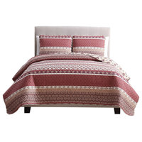 MHF Home Noreen 3 Piece Quilt Set , Red, King