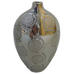 Sagebrook Home - Nadya Imprinted Medallion Silver Vase Small - Etched tone on tone medallions give this vase visual texture an mass appeal.