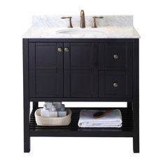 "Virtu Winterfell 36"" Single Bathroom Vanity, Espresso With Marble Top"