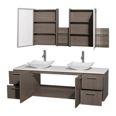"Amare 72"" Gray Oak Double Vanity, White Man-Made Top, Arista Carrera Marble Sink"