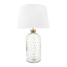"""Glass and Iron Cotton Shade Clear Finish 3-Way Switch Table Lamp, 31"""""""