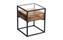 Tempered Glass End Table with Drawer and Rustic Shelf, Sofa side table Steel