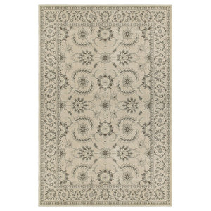 "Rowen Traditional Floral Oriental Ivory and Gray Rug, 5'3""x7'6"""