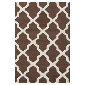 Ava Dark Brown and Ivory Rug, 91x152  Cm