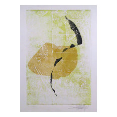 Bimal Banerjee, Spiritual Forms and Lemon Yellow, Etching and Mixed Media