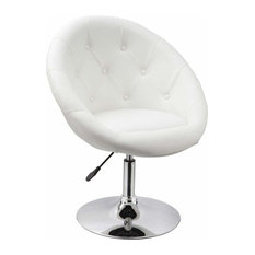 Modern Bar Stool With White Faux Leather Upholstery, Extra Padded for Comfort