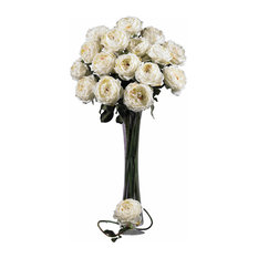 "Nearly Natural 31"" Large Roses Stem, White, Set of 12"