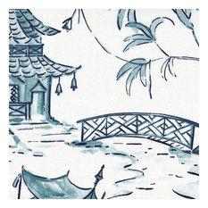 Pagodas Seaside Blue Oriental Toile Bolster Pillow, Pagodas/Pagodas