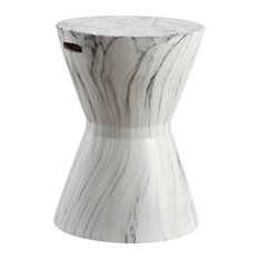 "African Drum 17.3"" White Marble Finish Ceramic Garden Stool"