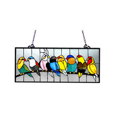 Birdies Tiffany-Glass Featuring Birds Window Panel