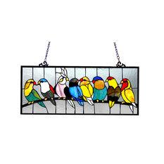 "CHLOE Lighting, Inc. - Chloe Lighting Birdies Stained Glass Featuring Birds Window Panel, 25.5""x10.5"" - Stained Glass Panels"