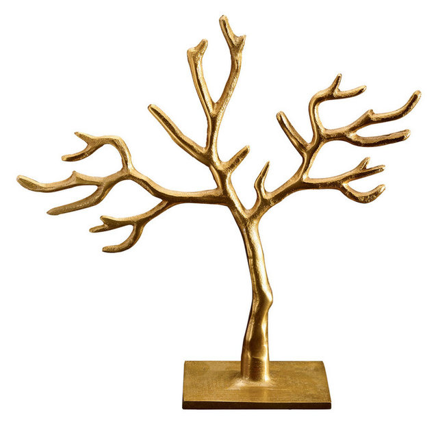 Gold 20 Branch Cast Tree of Life Jewelry Holder Rustic Jewelry
