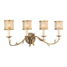 Parc Royale Bath Light, 4-light, Gold and Silver Leaf Finish, Golden Ice Glass