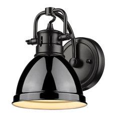 Duncan 1 Light Bath Vanity, Black, Black Shade