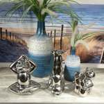 Sagebrook Home - Silver Frog Sitting - Be inspired to live a zen lifestyle with this humorous frog in peaceful yoga pose