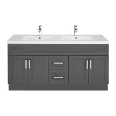 Sundown 60'' Contemporary Vanity 4 Door 2 Drawer With Double Bowl Top by Cutler