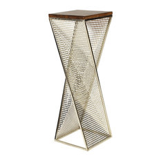Uniek   Elita Walnut Wood And Metal Pedestal End Table   Side Tables And End  Tables
