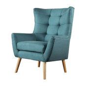 GDF Studio Temescal Mid Century Modern Dark Teal Fabric Club Chair, Dark Teal