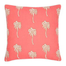 Embroidered Palm Tree Cushion, Coral
